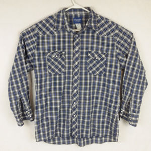 Country Western Plaid Pearl Snap Shirt Long Sleeve